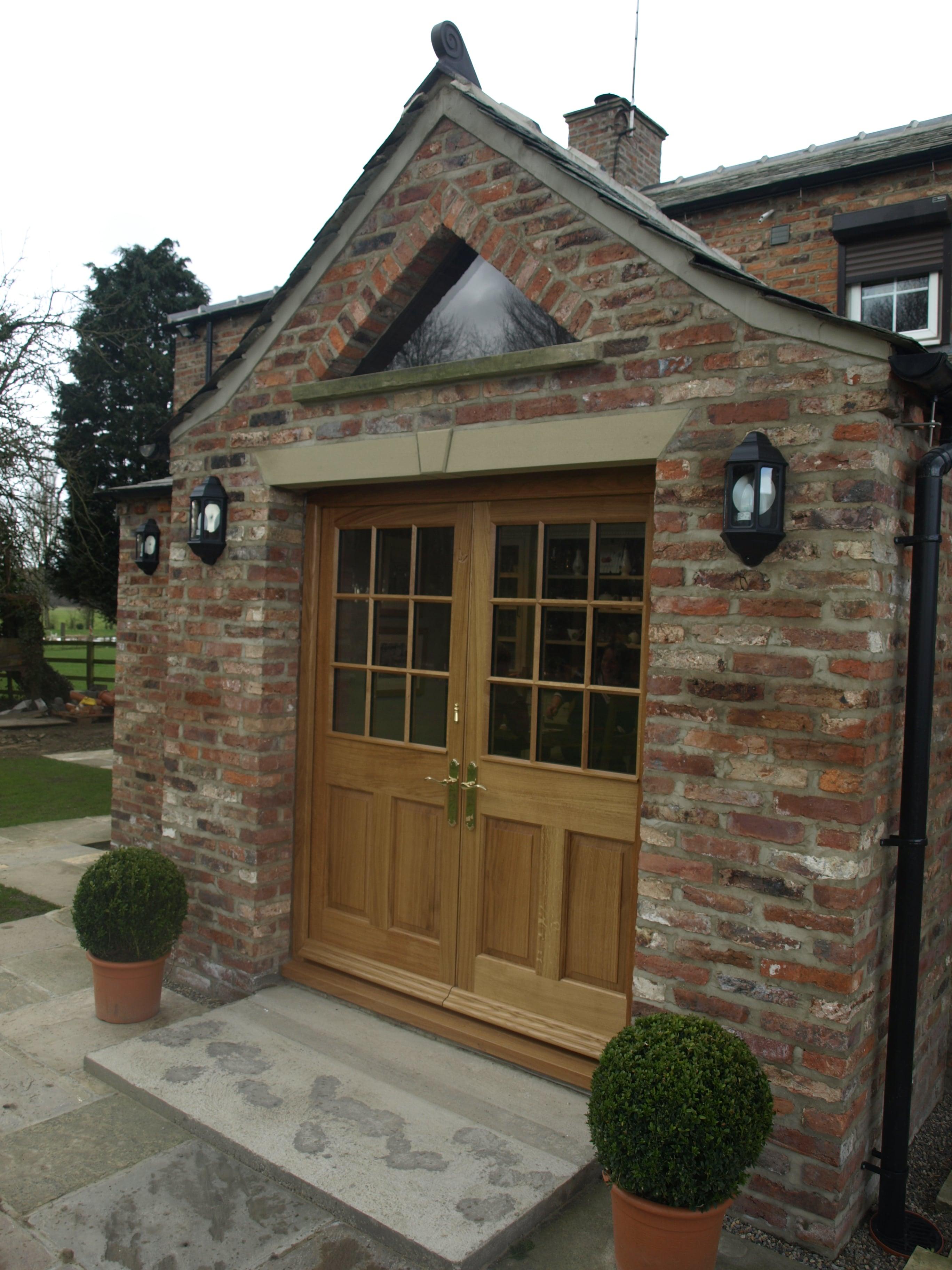 Pair Solid Oak Front Door & Frame