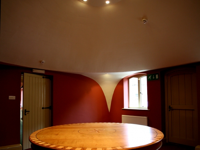 Oak Round Table With Inlays