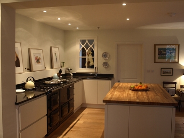 Painted Kitchen With Granite & Oak Tops