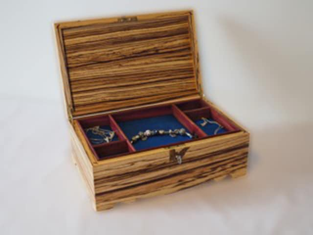 Solid Zebrano Jewellery Box Handmade Bespoke Personalised Gifts