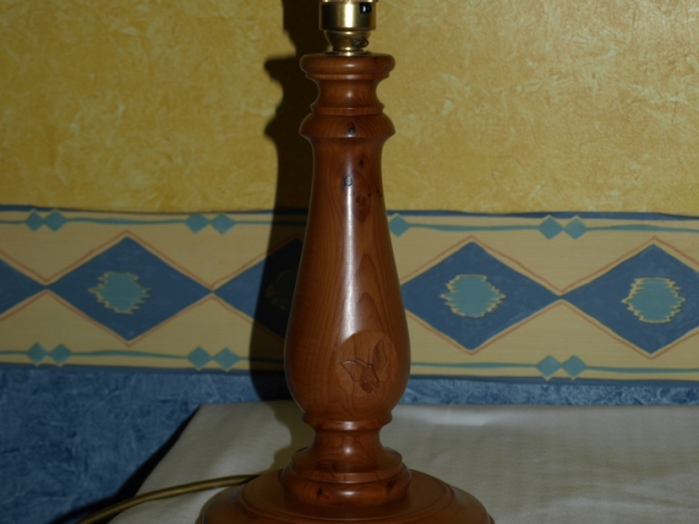 Turned Yew Lamp Handmade Bespoke Personalised Gifts